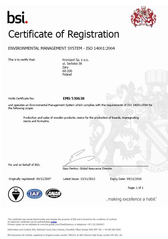 環境管理體系註冊證書