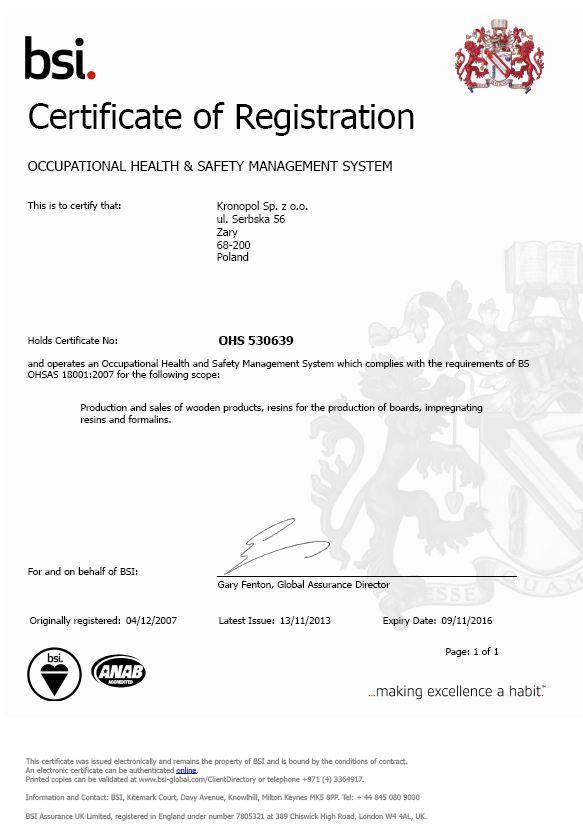職業健康安全管理體系註冊證書